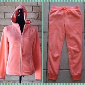 Soft Velour 2 Pc. Jogger Set Zipper Jacket + Pants